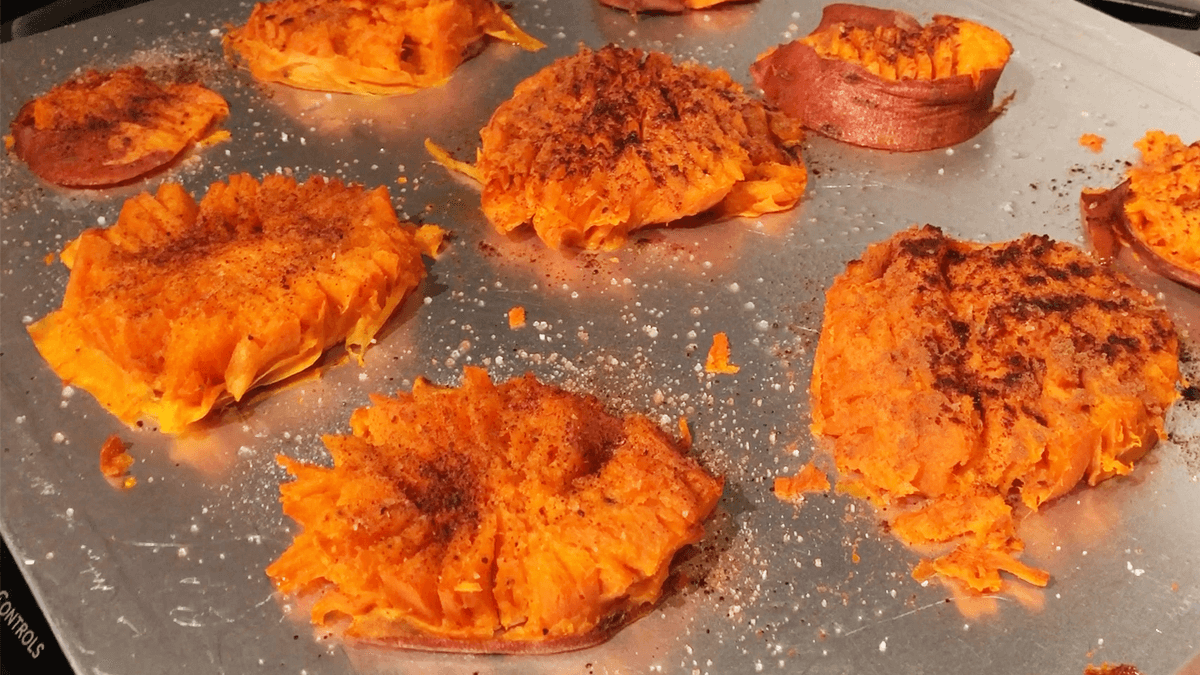 Cinnamon Coconut Smashed Sweet Potatoes Recipe | Slow Carb & Gluten Free